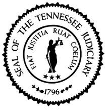 Seal of the Tennessee Judiciary, a lady holding a sword by her side and a scale.